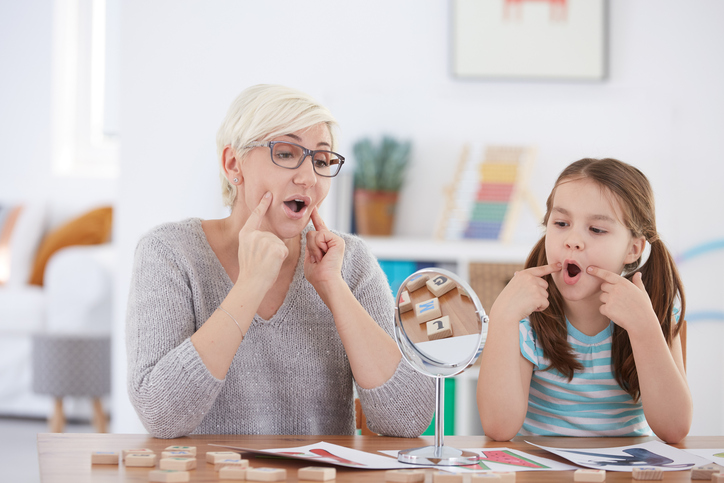 Speech defect children's speech therapist articulation gymnastics speech therapy garden